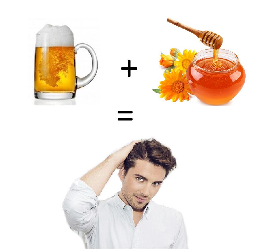 Маска для волос из меда и пива от облысения