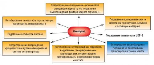 Основные механизмы действия Нимесулида